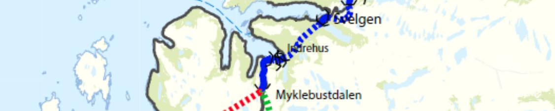Kart med trasé Svelgen-Indrehus.